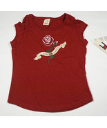 NWT TOMMY HILFIGER MEDIUM 8 10 TOP TOMMY GIRL SHIMMERY RED ROSE SHIRT - $16.82