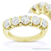 Round Moissanite 14k Yellow Gold 5-Stone U-Prong Anniversary Ring Weddin... - €927,11 EUR+