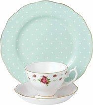 Royal Albert Vintage Mix Teacup Saucer Plate White Confetti Polka 40034... - $133.80