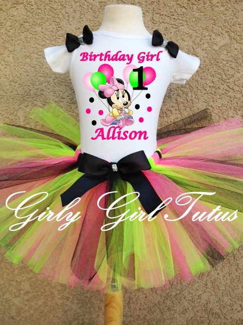 ca2d11221 Baby Girl Minnie Mouse 1st Birthday Green/Black Tutu Outfit Party Dress Set