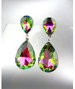 GLITZY Vitrail Medium Czech Crystals Bridal Queen Pageant Prom Earrings ... - $21.99