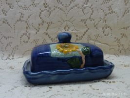 Vintage Ceramic Dark Blue Sun Flower Design // Square Butter Dish With Lid - $13.50
