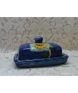 Vintage Ceramic Dark Blue Sun Flower Design // Square Butter Dish With Lid - $13.50