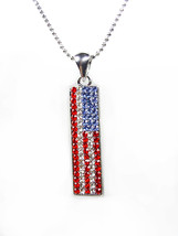 PATRIOTIC Red White Blue Swarovski Crystals USA American Flag Necklace  - $12.99