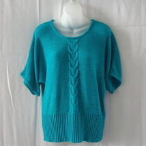 Cable & Gauge XL green acrylic & nylon short-sleeved top with cable detail - $15.00