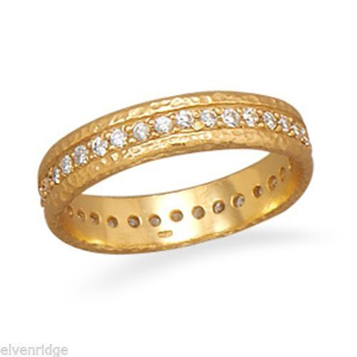 14 Karat Gold Plated CZ Eternity Ring Sterling Silver