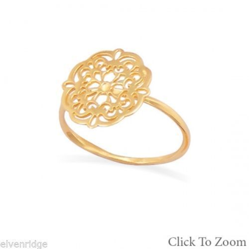 14K Gold Plated Ornate Cut Out Design Ring Sterling Silver