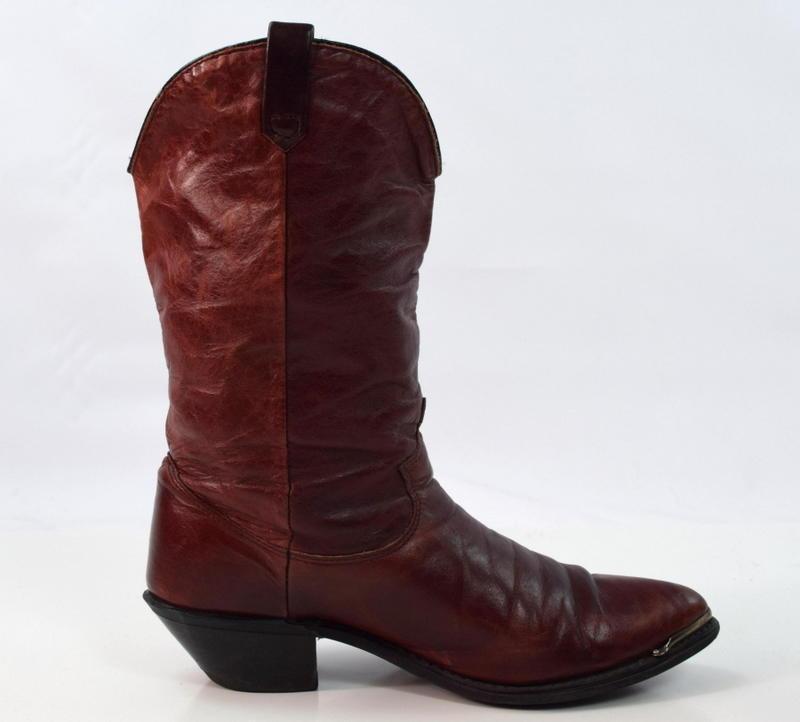 dingo reddish brown leather western cowboy metal tip toe
