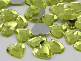 15mm Yellow Jonquil .JQ26 Flat Back Heart Acrylic Gems - 40 Pieces - $4.17
