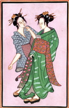 India Japan Art Handmade Indo Japanese Miniature Ethnic Folk Portrait Pa... - $54.99