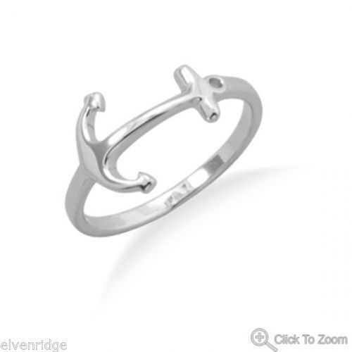 Rhodium Plated Anchor Ring Sterling Silver