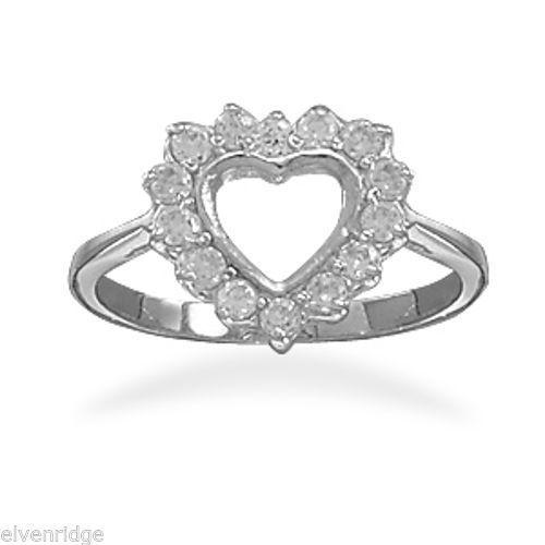 Rhodium Plated Cut Out CZ Heart Ring Sterling Silver