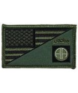 ARMY 82ND AIRBORNE OD GREEN FLAG 2 X 3  EMBROIDERED PATCH WITH HOOK LOOP - $23.74