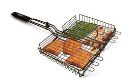 Large Non-Stick Gas / Charcoal BBQ Summer Barbecue Grilling Basket w Lon... - $24.66