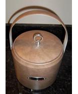 Retro Ice Bucket Beige Vinyl GEORGES BRIARD Vintage USA Chrome Tag Neutr... - $21.73