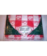 Checked Tablecloth Red White Linette Paper Plastic Floral Design 2-ply 4... - $12.86