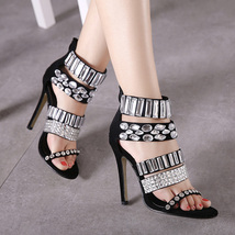 PS222 sweet ankle sandals w pearl associate ,size 35-40, black - $68.80
