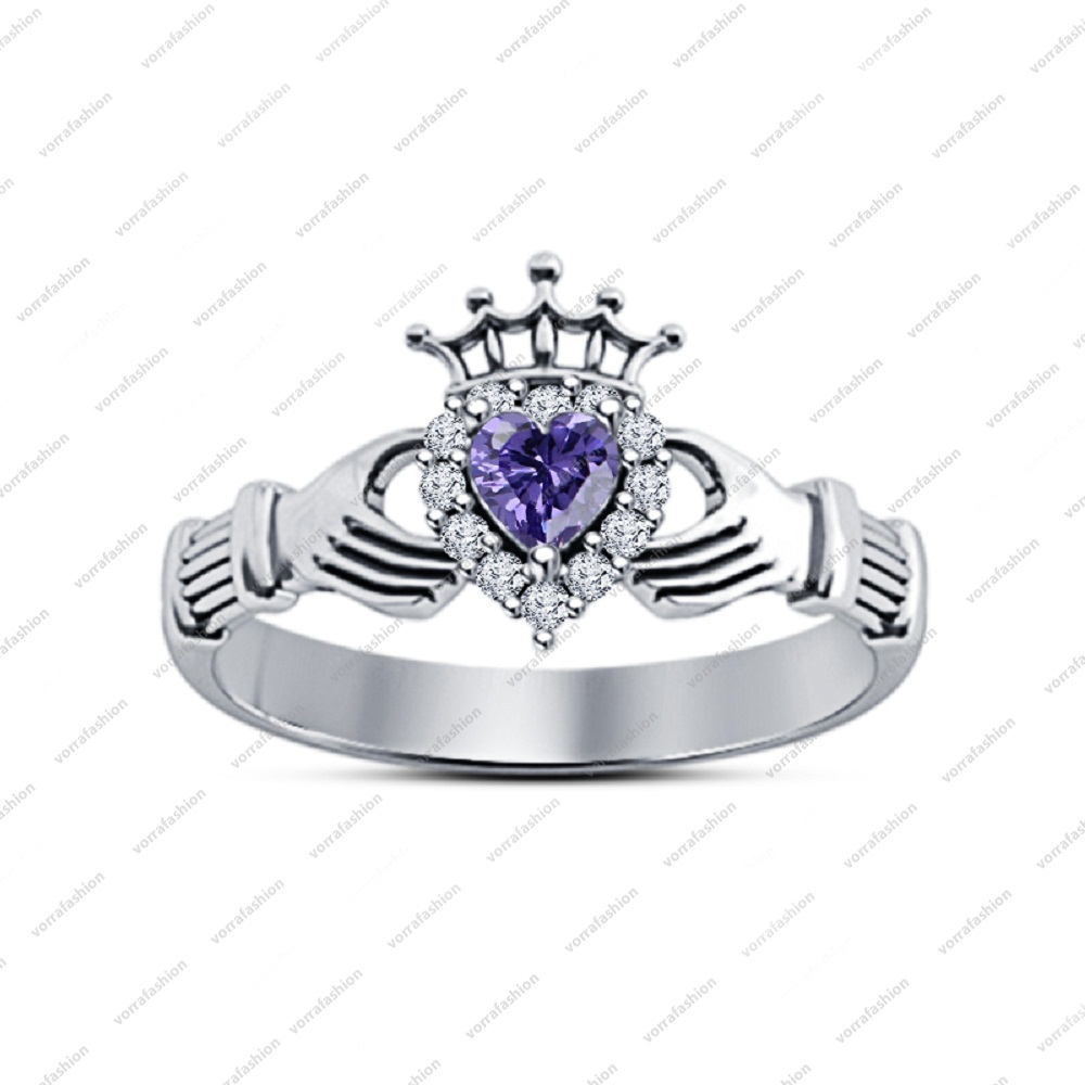 new shape amethyst claddagh engagement ring 14k