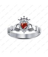 Ladies 925 Silver Red Garnet Heart Shape Claddagh Band Ring Size 8 14K W... - £30.34 GBP