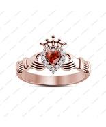 925 Silver Heart Shape Red Garnet Claddagh New Design Band Ring 14K Rose... - £30.34 GBP