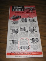 1949 Print Ad Coxe & Bronson Fresh & Saltwater Fishing Reels Bronson,MI - $14.38