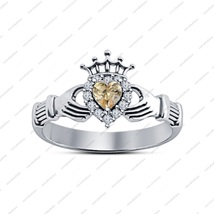 New Heart Shape Brown Sim Diamond Claddagh Ring 14Kt White Gold Fn 925 S... - ₨2,238.32 INR