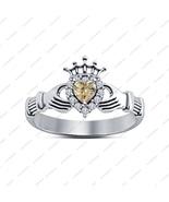 New Heart Shape Brown Sim Diamond Claddagh Ring 14Kt White Gold Fn 925 S... - £27.06 GBP