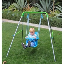 Swing Set Toddler Outdoor Baby Seat Foldable Frame Playground Kids Play ... - $58.88