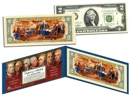FOUNDING FATHERS Colorized Back Genuine $2 Bill with Founding Father's CERT - $13.95