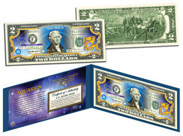 AQUARIUS * Horoscope Zodiac * Genuine Legal Tender Colorized U.S. $2 Bill - $13.95