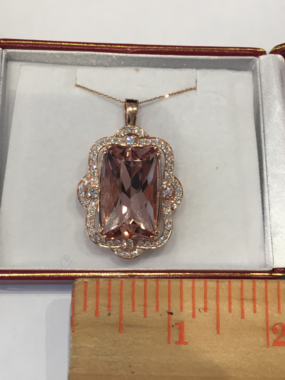 Solid 14K Rose Gold Genuine 33.52 ct Pink Morganite 1.95 ct & Diamond Pendant