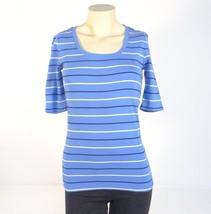 Tommy Hilfiger Blue Stripe Short Sleeve Knit Shirt Women's XS NWT - $29.69