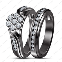 14K Black Gold Plated 925 Silver White Diamond Ladies 2Pcs Engagement Bridal Set - $107.99