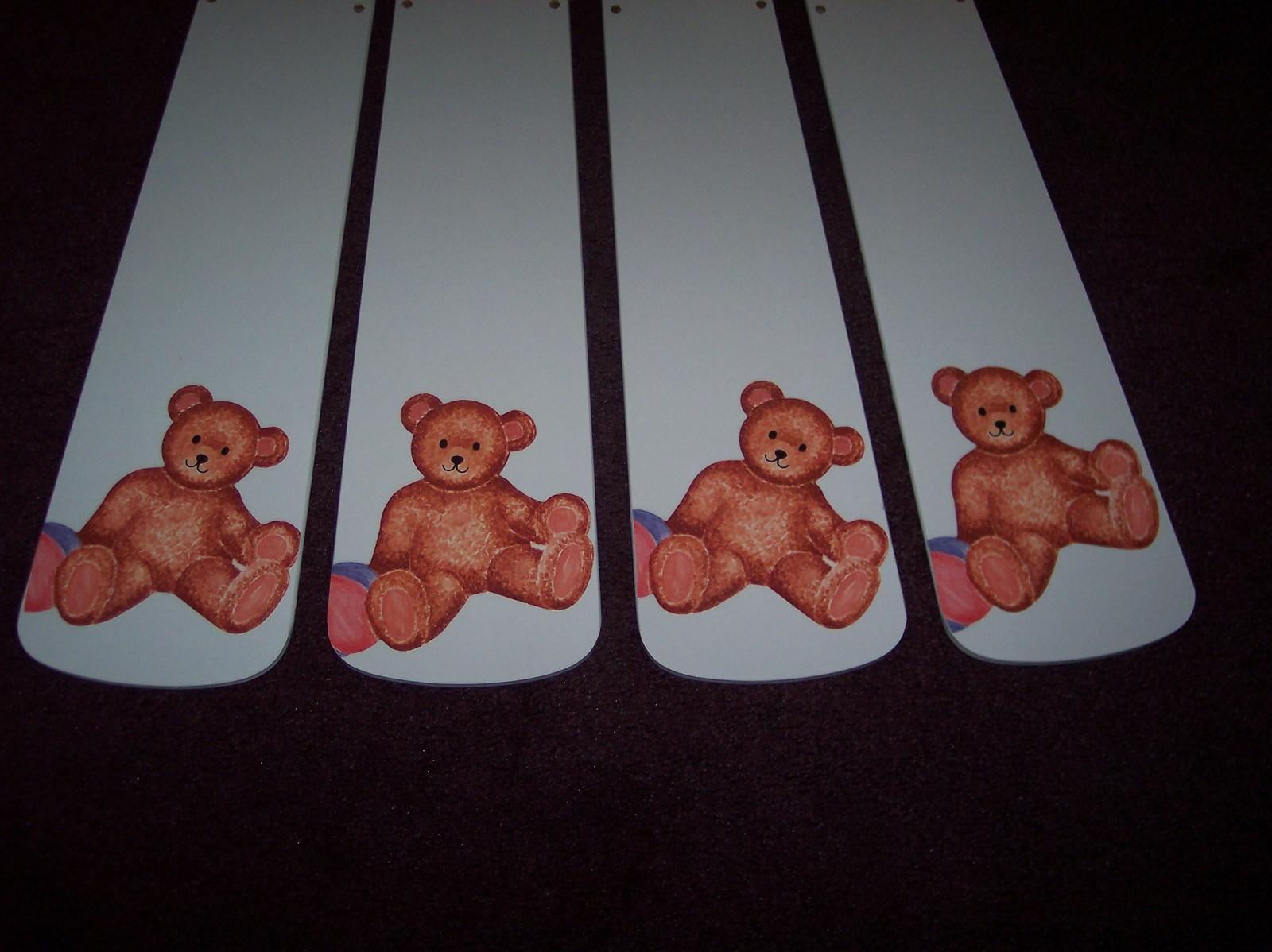 Custom Teddy Bear Ceiling Fan Baby Blue Blades Nursery