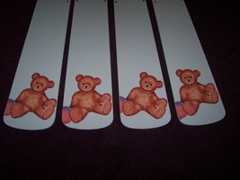 CUSTOM~~~TEDDY BEAR CEILING FAN ~BABY BLUE BLADES~NURSERY ROOM DECOR - $99.99