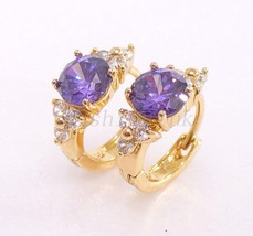 fashion1uk Women's 18K Gold Plated Purple Luxury Simulated Diamond Hoop ... - $16.63