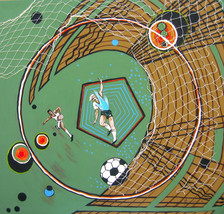 "Soccer paintings ""The big Kick"" by original artist - $470.25"