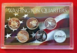 5 SILVER 2002 S PROOF DEEP CAMEO STATE QUARTERS WITH MIRROR FINISH IN HO... - $29.68