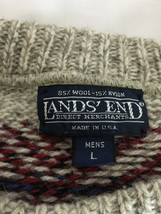 Chunky Lands' End Men's Sweater Gray Red Blue Wool Blend Made in USA - $19.99