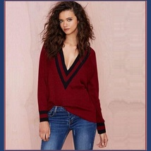Loose Long Sleeved Knitted Pullover Striped Edge V Neckline Maroon Sweater
