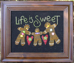 Life Is Sweet 8311X button pack + gingerbread cross stitch chart JABC - $14.85