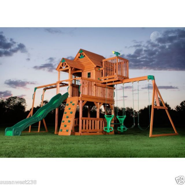 Skyfort II Cedar Swing Set, Outdoor Play Equipemnt, Wooden Playground, New