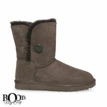 UGG BAILEY BUTTON II CHOCOLATE SUEDE SHEEPSKIN CLASSIC BOOTS SIZE US 8/U... - $149.99