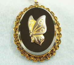 Vintage Butterfly Black Glass Pendant Necklace Antiqued Gold Plated Beveled - $19.31