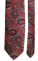 Vintage Men's H.&S. POGUE Mid Century TIE  70'S  Red Blue Brown Paisley ... - $9.99