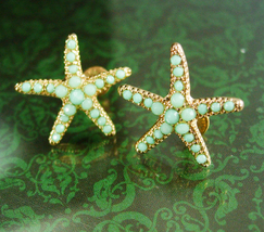 Vintage Starfish earrings sparkling turquoise  jewelry bride gift bridesmaid gra - $40.00