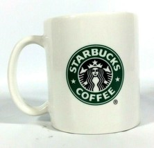 Starbucks 2004 Mermaid Logo Ceramic 2-Sided Coffee Cup Mug Green and Black - $7.91