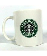 Starbucks 2004 Mermaid Logo Ceramic 2-Sided Coffee Cup Mug Green and Black - $7.91