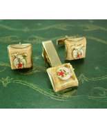 Shriners Mason Cufflinks Tie clip SET Vintage Simitar Star Cresent Moon ... - $115.00
