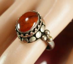 Vintage Parisian Ring Amber Etrsucan antiquarian style Byzantine antique... - $195.00